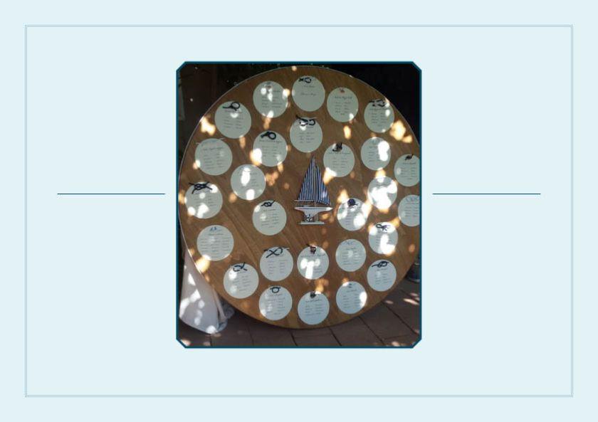Enrico e Bugi (nessuno sa che si chiama Anna Maria!), due esempi di amore vero. Chi li conosce bene sa che sono due veri lupi di mare! Nulla ci sembrava più appropriato dei nodi come tema ricorrente per tutto il matrimonio. Nodi realizzati ad acquarello e il nodo piano come simbolo di unione degli sposi. Il colore del tema: Il blu ovviamente!
