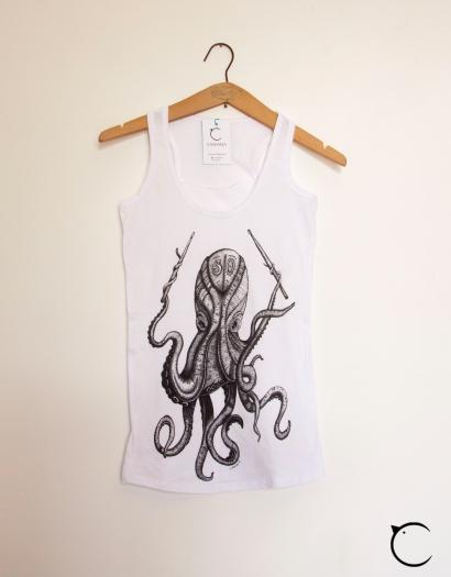 octopus canottiera t-shirt