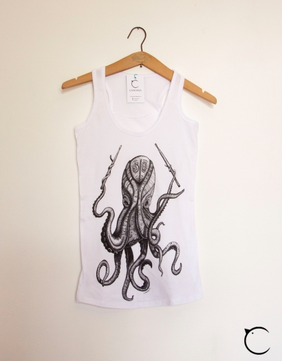octopus canottiera t-shirt